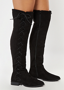 Black Faux Suede Lace Up Side Over The Knee Boots