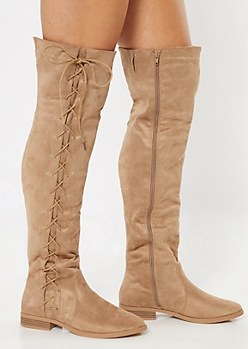 Taupe Faux Suede Lace Up Side Over The Knee Boots