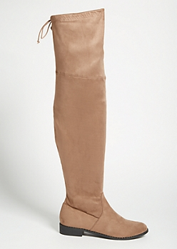 Tan Faux Suede Tie Back Thigh High Boots