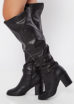 Black Buckled Over The Knee Heeled Boots