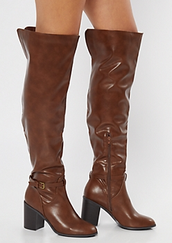 Brown Buckled Over The Knee Heeled Boots