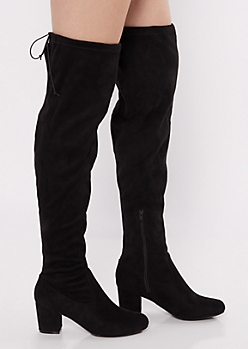 Black Faux Suede Over The Knee Low Heeled Boots