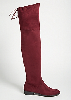 Burgundy Faux Suede Tie Back Thigh High Boots