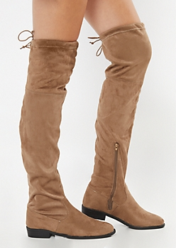 Taupe Flat Over The Knee Boots