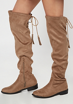 Taupe Tassel Lace Up Over The Knee Boots