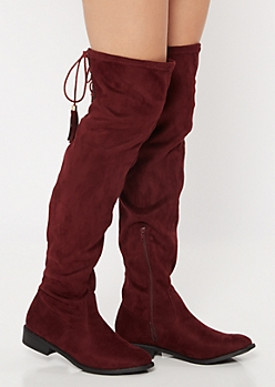 Burgundy Tassel Lace Up Over The Knee Boots