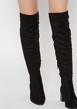 Black Stack Block Heel Over The Knee Boots