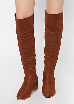 Brown Stack Block Heel Over The Knee Boots