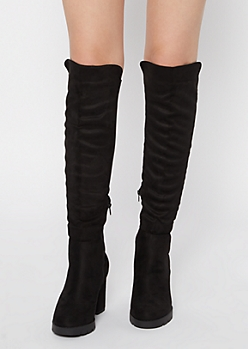 Black Lug Sole Over The Knee Boots