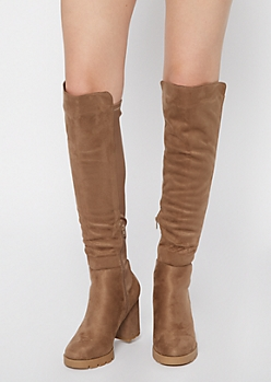 Taupe Lug Sole Over The Knee Boots