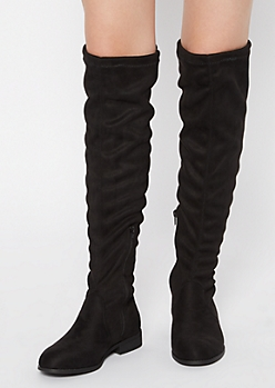 Black Cinch Tied Over The Knee Boots