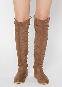 Taupe Cinch Tied Over The Knee Boots