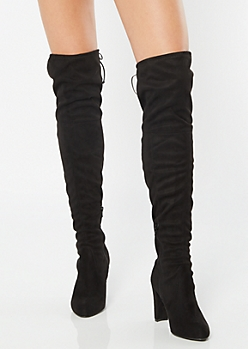 Black Faux Suede Over The Knee Heeled Boots