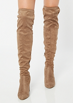 Brown Faux Suede Over The Knee Heeled Boots