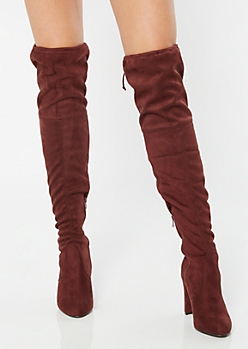 Burgundy Faux Suede Over The Knee Heeled Boots