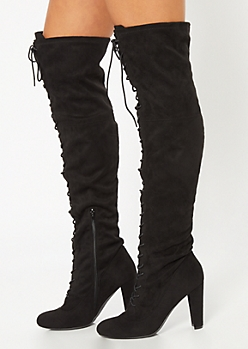 Black Lace Up Front Heeled Over The Knee Boots