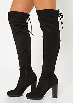 Black Over The Knee Platform Heeled Boots
