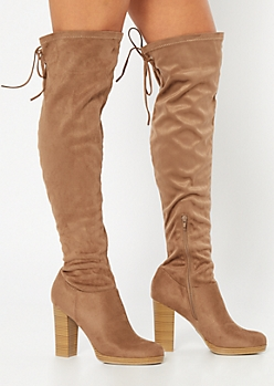Taupe Over The Knee Platform Heeled Boots