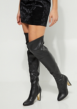 Black Over The Knee Mirror Heel Boots