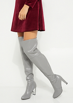 Gray Over The Knee Mirror Heel Boots