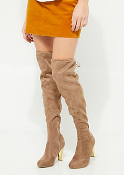 Taupe Faux Suede Mirrored Heel Over The Knee Boots