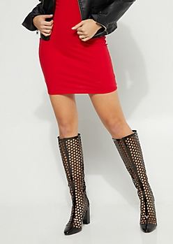 Black Honeycomb Heel Knee Boots