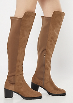 Taupe Over The Knee Lug Sole Boots