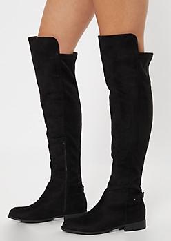 Black Buckled Over The Knee Boots