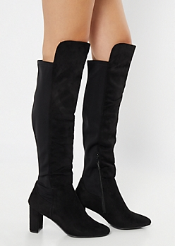 Black Over The Knee Scuba Heeled Boots