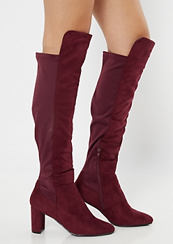 Burgundy Over The Knee Scuba Heeled Boots