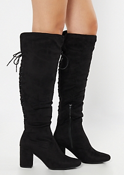 Black Faux Suede Lace Up Back Over The Knee Boots
