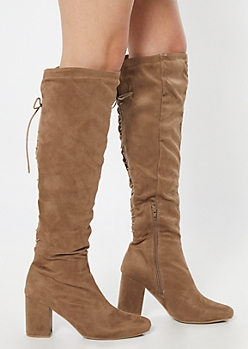 Taupe Faux Suede Lace Up Back Over The Knee Boots