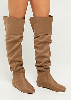 Taupe Scrunched Flat Heel Over The Knee Boots