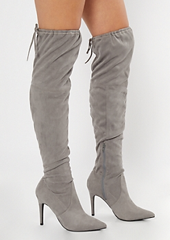 Gray Stiletto Over The Knee Boots