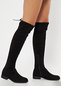 Black Faux Suede Over The Knee Flat Boots