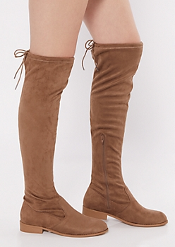 Taupe Faux Suede Over The Knee Flat Boots