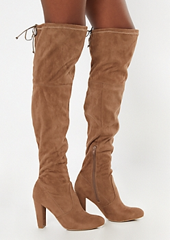 Taupe Heeled Over The Knee Boots