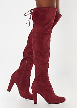 Burgundy Heeled Over The Knee Boots