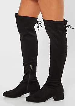 Black Over The Knee Grommet Lace Up Boots