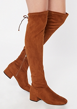 Cognac Over The Knee Grommet Lace Up Boots