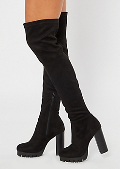 Black Thigh High Lug Platform Heeled Boots