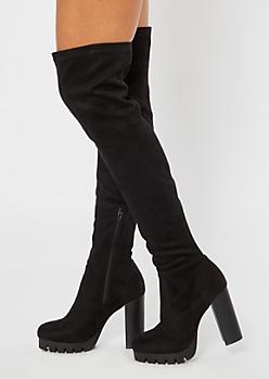 Black Thigh High Lug Platform Heeled Boots