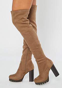 Taupe Thigh High Lug Platform Heeled Boots