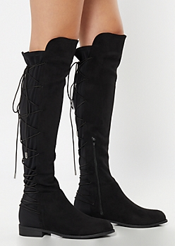 Black Scuba Lace Up Over The Knee Boots