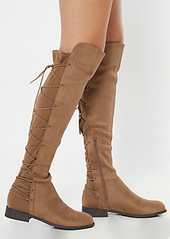 Taupe Scuba Lace Up Over The Knee Boots