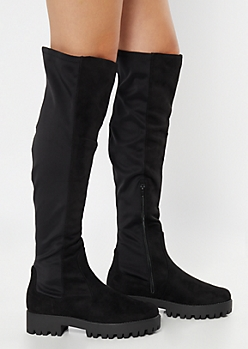 Black Faux Suede Over The Knee Lug Boots