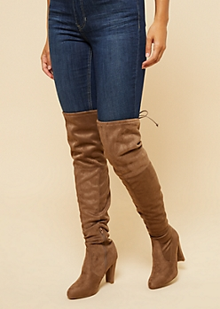 Taupe Faux Suede Thigh High Boots