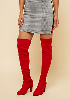 Red Faux Suede Thigh High Boots
