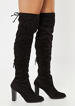 Black Over The Knee Cinched Stacked Heel Boots