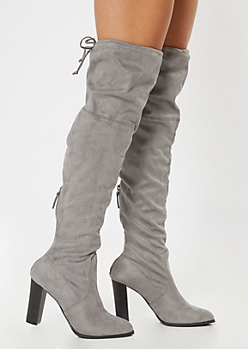 Gray Over The Knee Cinched Stacked Heel Boots